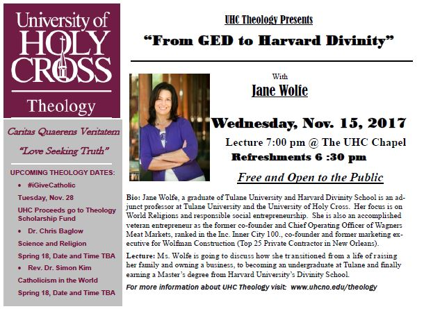 "UHC Theology Presents: ""From GED to Havard Divinity"" with Jane Wolfe"